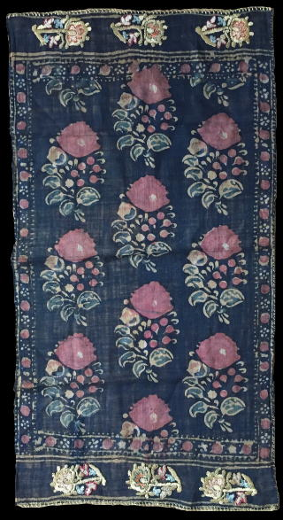 Ottoman handkerchief with printed cotton and embroidery